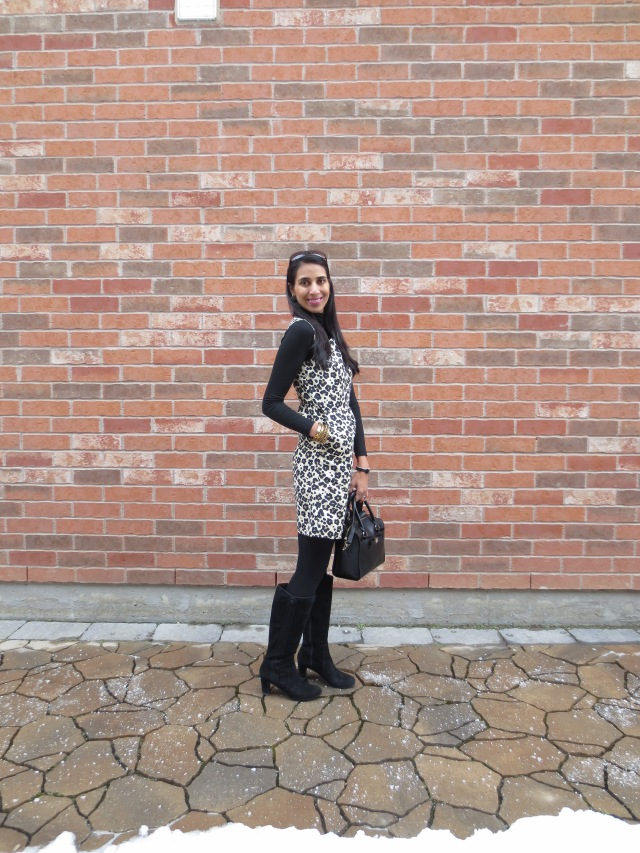 leopard winter outfit boots tights
