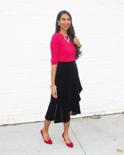 velvet ruffle skirt red shoes red sweater red top