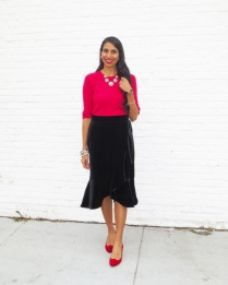 Velvet Skirt red sweater red shoes
