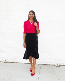 Velvet Skirt red sweater red shoes