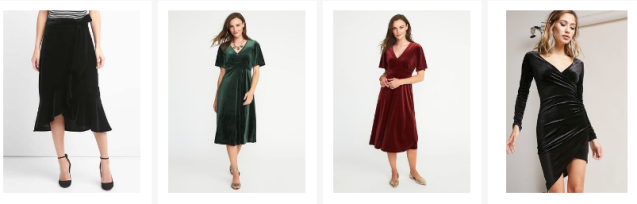 Velvet dresses and skirts